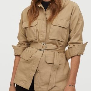 Belted jacket shirt NWT Large cotton beige